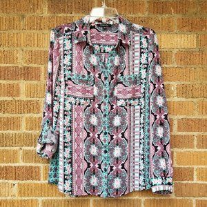 Women's Relativity Printed Button Down, Sz Medium
